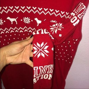 PINK Victoria's Secret Tops - VS PINK Christmas holiday long sleeve
